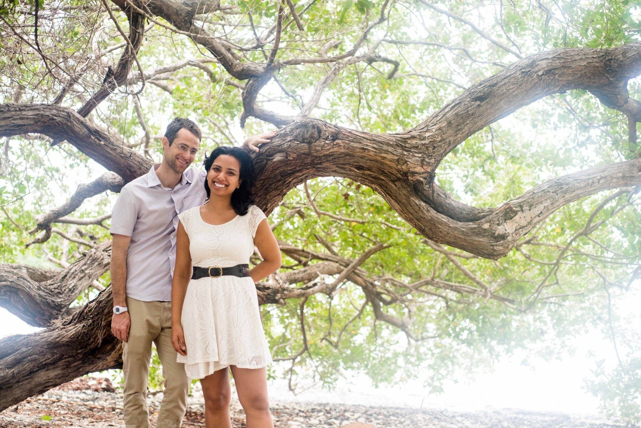 Bride and groom in front of mangroves in Culebra, PR