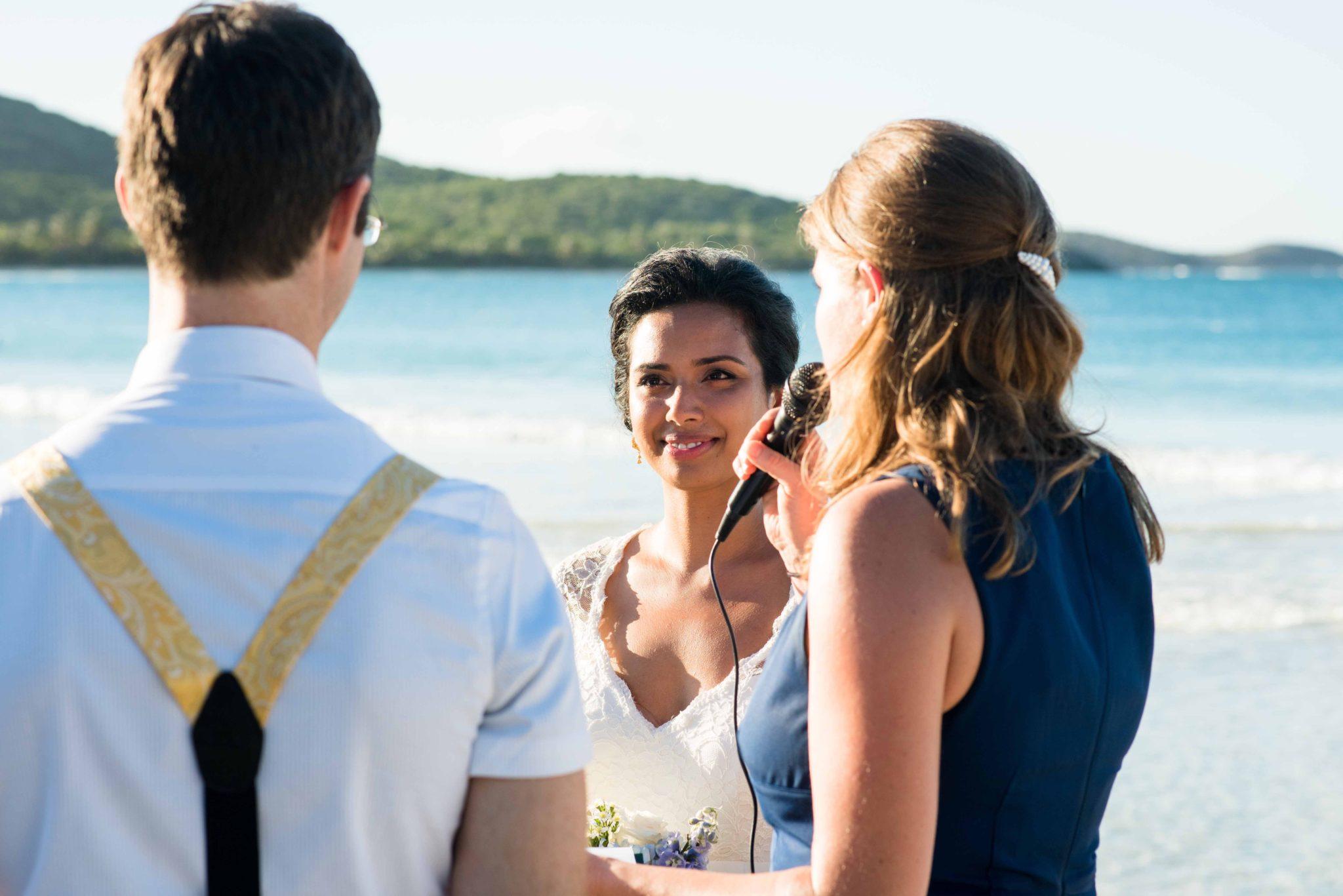 Bride at Flamenco beach in Culebra wedding