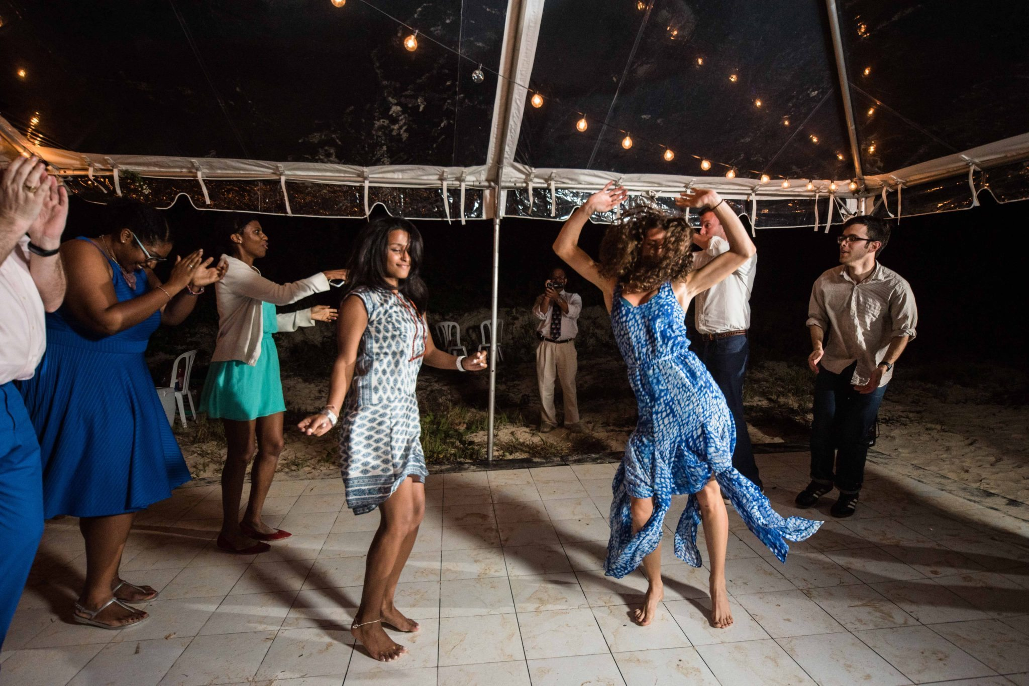 Dancing at beach wedding in Puerto Rico