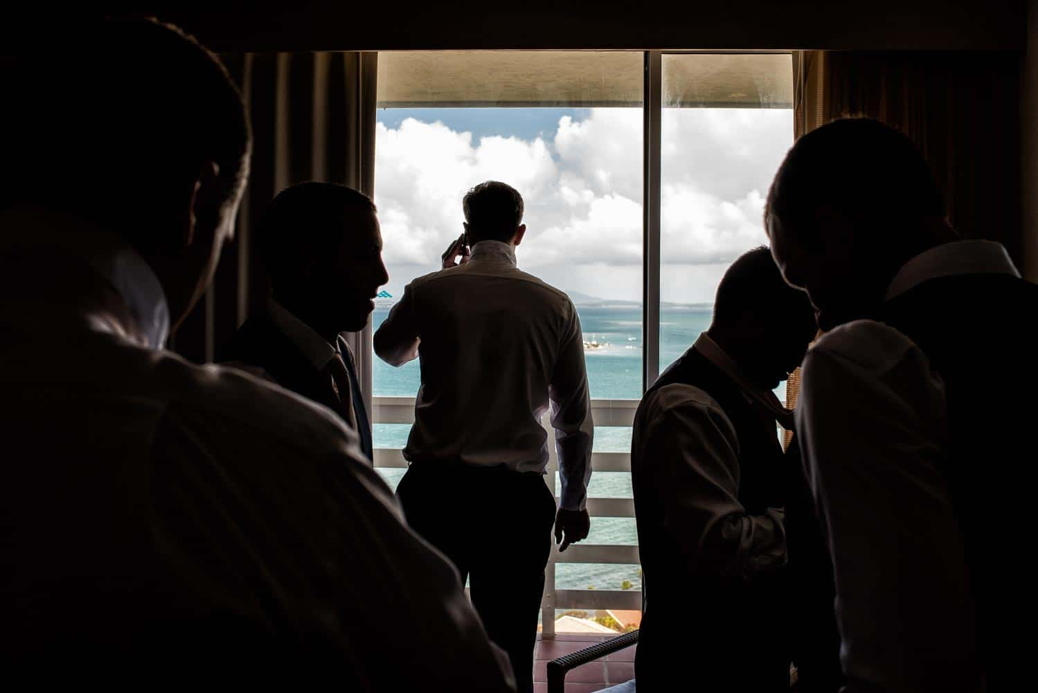 Groomsman at El Conquistador Puerto Rico overlooking the ocean