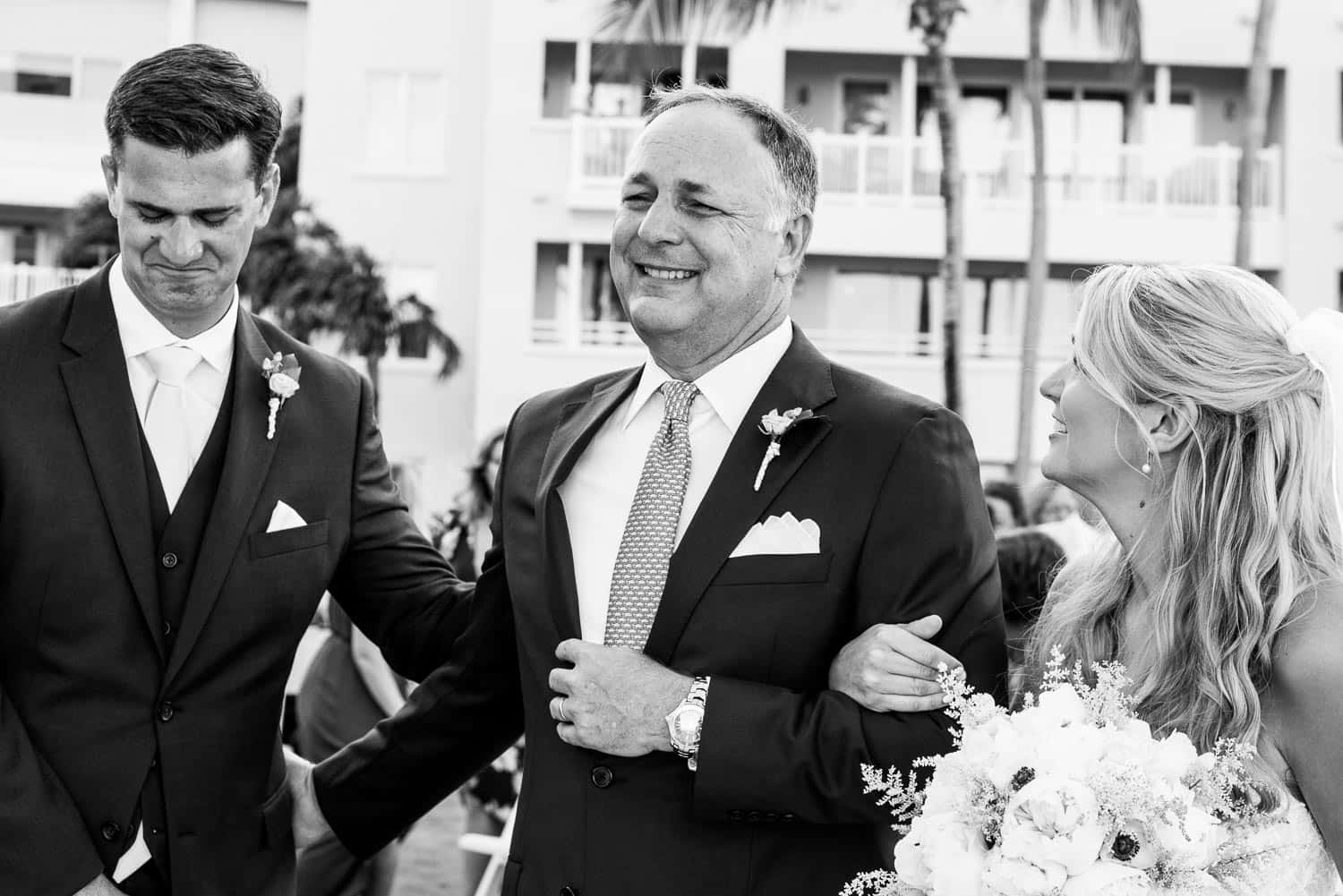 BW father of the bride smiling