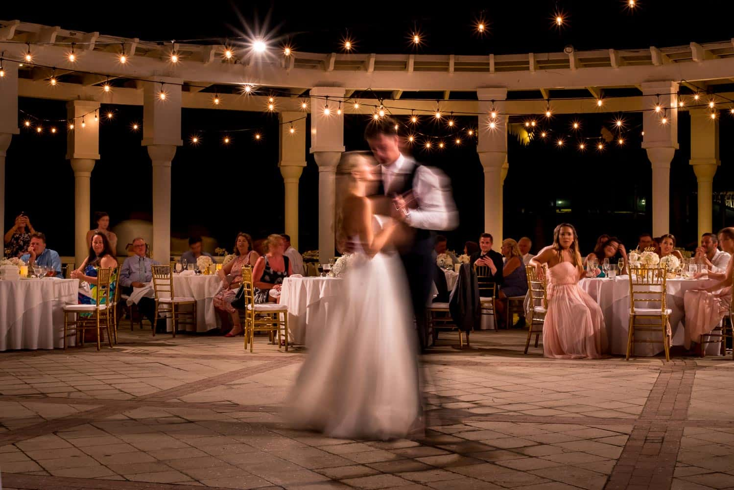 Creative motion blur wedding dance photo
