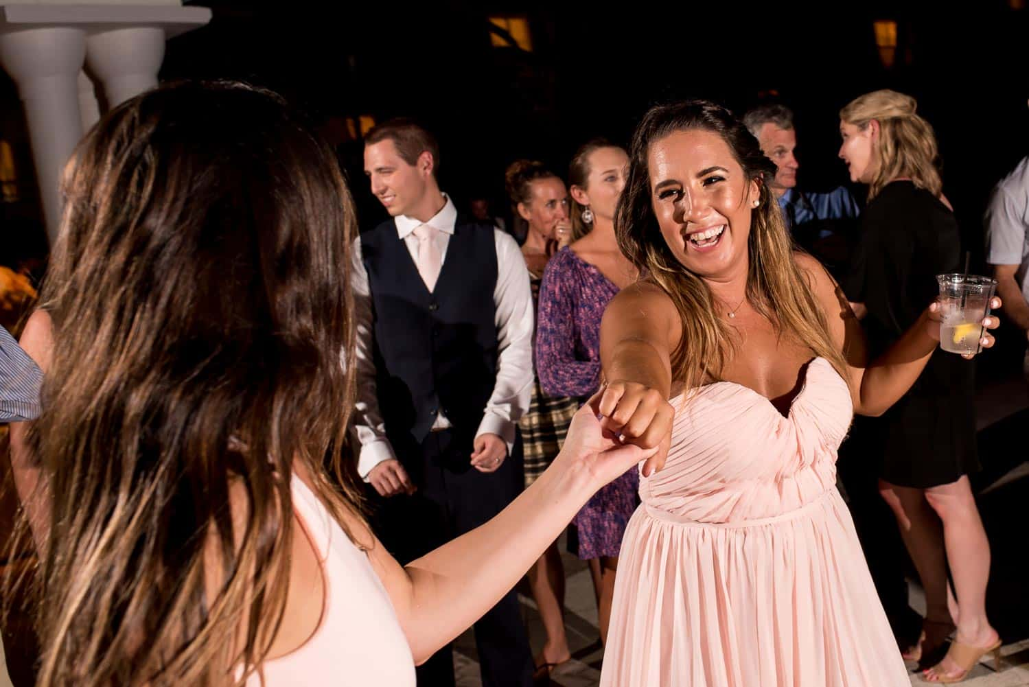 Bridesmaids dancing during reception