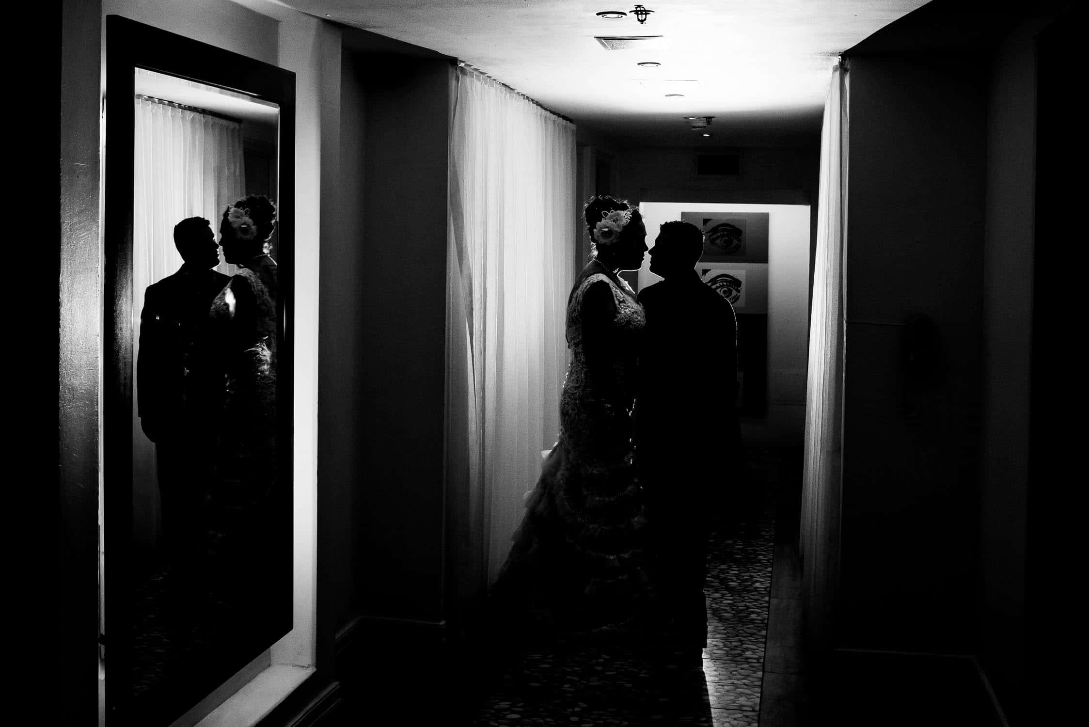 Wedding portrait in hotel