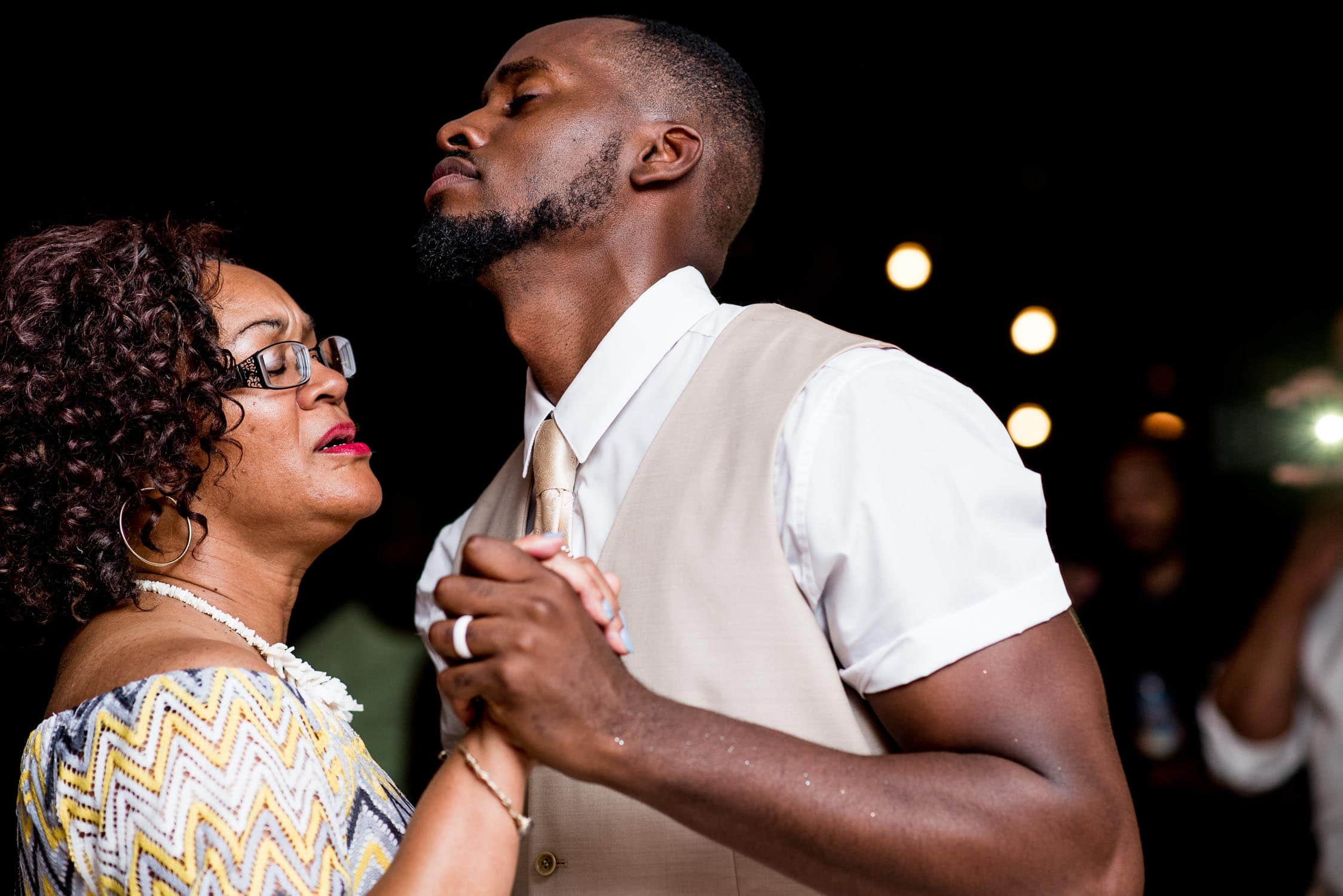 Dramatic mother son dance during wedding reception