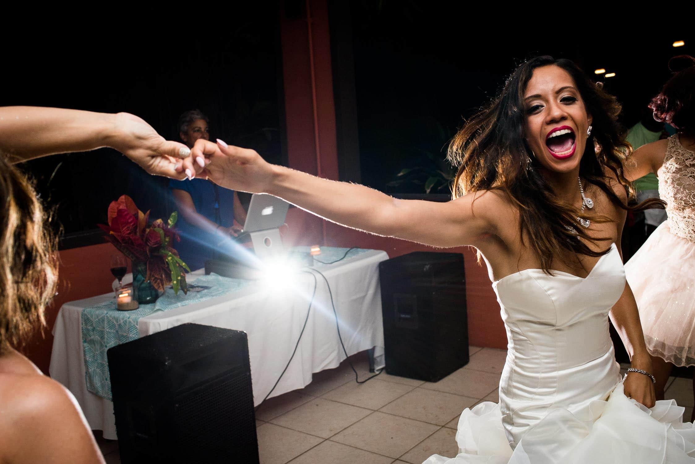 Fun wedding reception photography