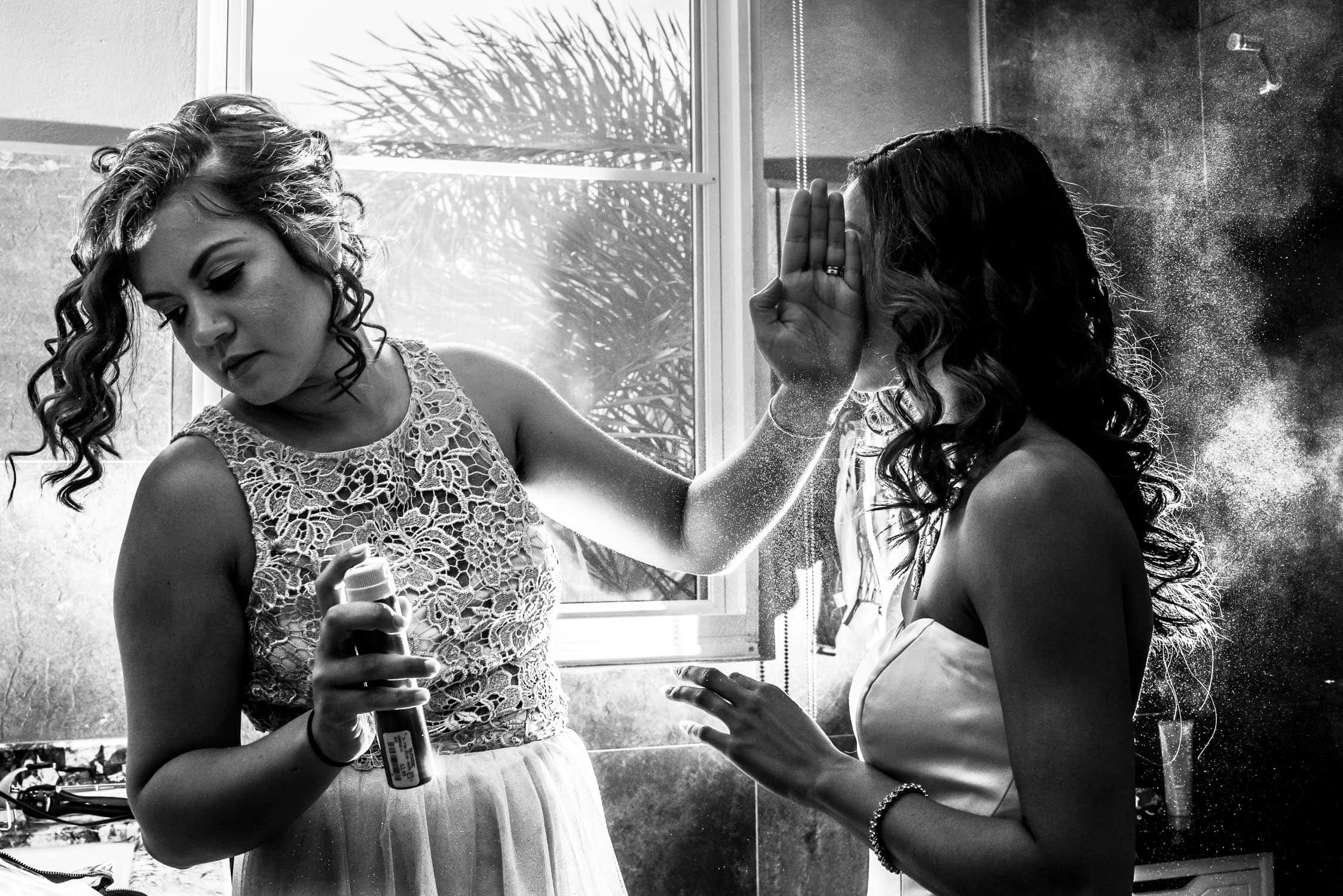 Wedding hairspray photo