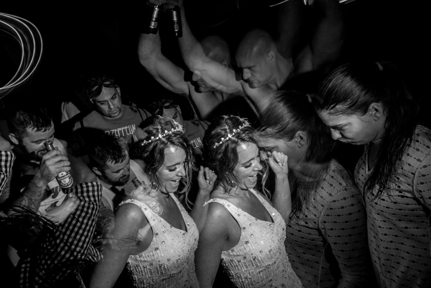 Artistic Black and white double exposure of the bride dancing during her Marias Beach wedding.