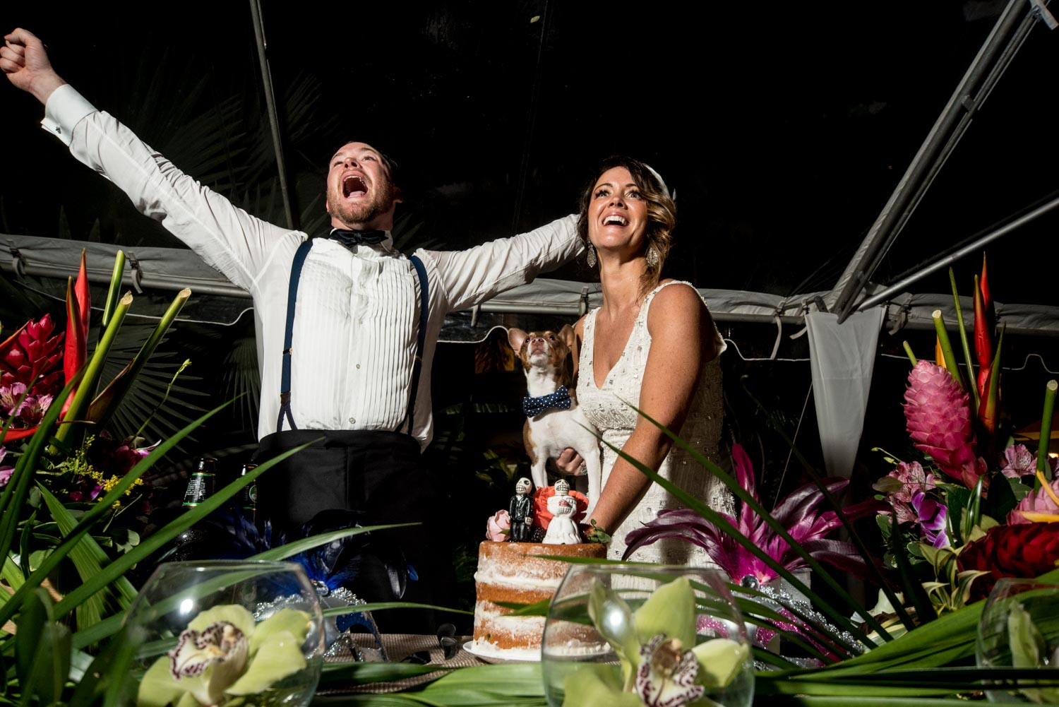 Groom standing next to the bride holding their dog while they cut the cake. The groom is cheering with his arms reaching outwards.