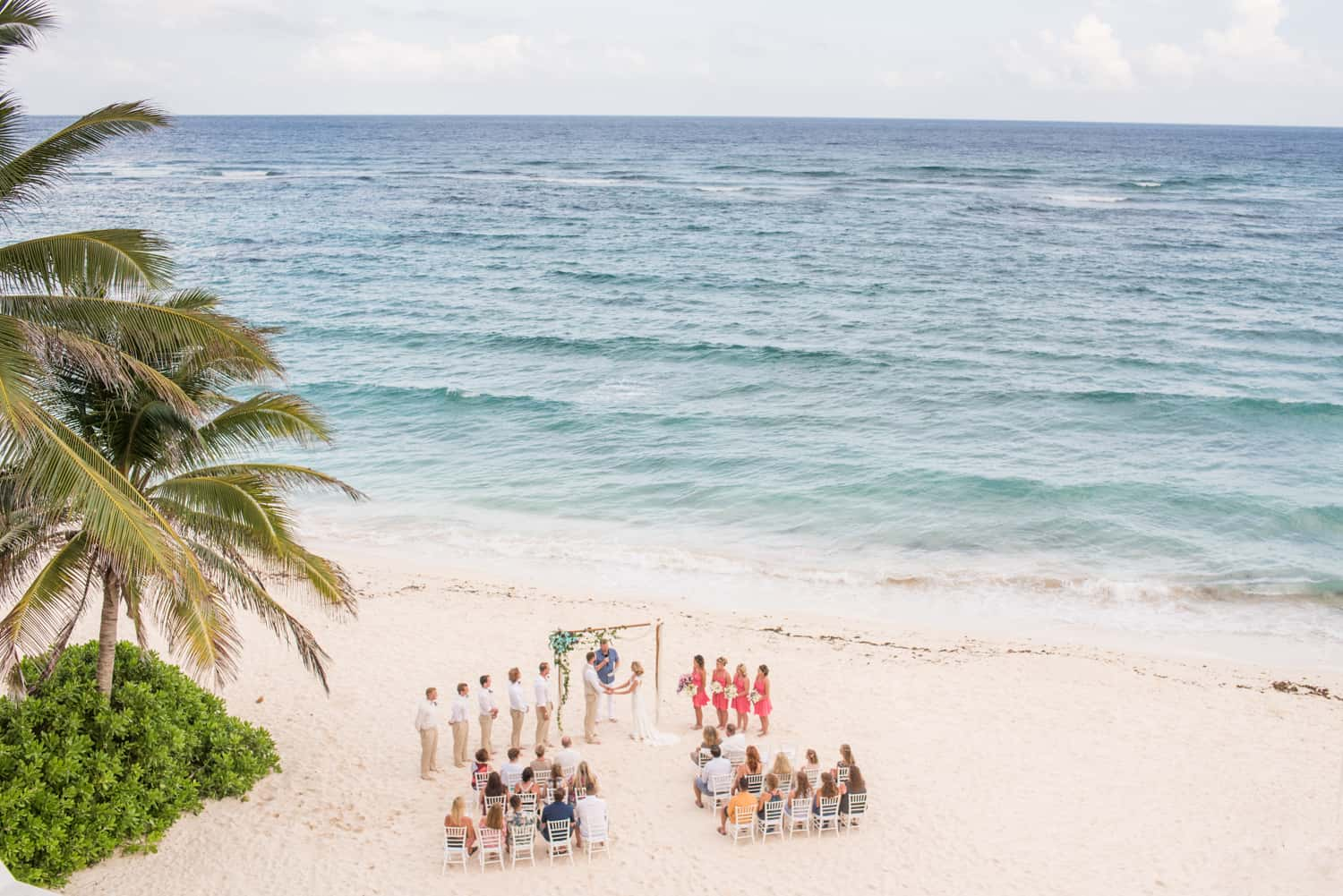 Aerial photograph of a beach wedding in Tulum Mexico