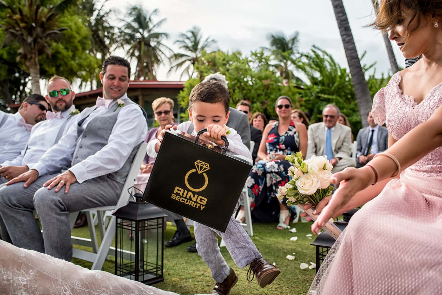 Ring bearer at a wedding with ring security breifcase