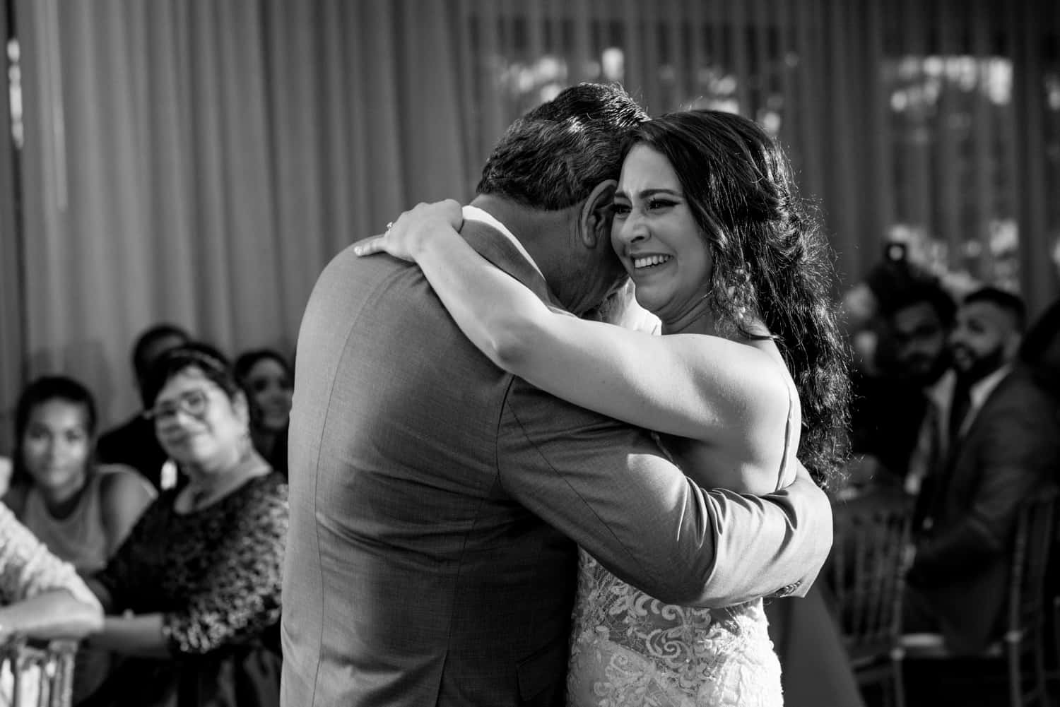 Black and white photograph of father daughter wedding dance