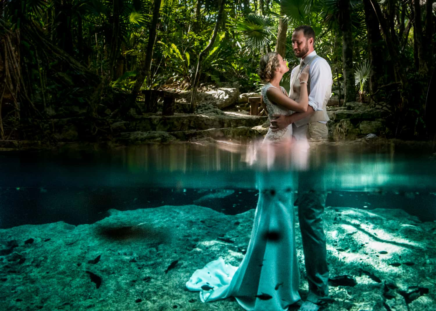 Under water wedding photography in Tulum Mexico
