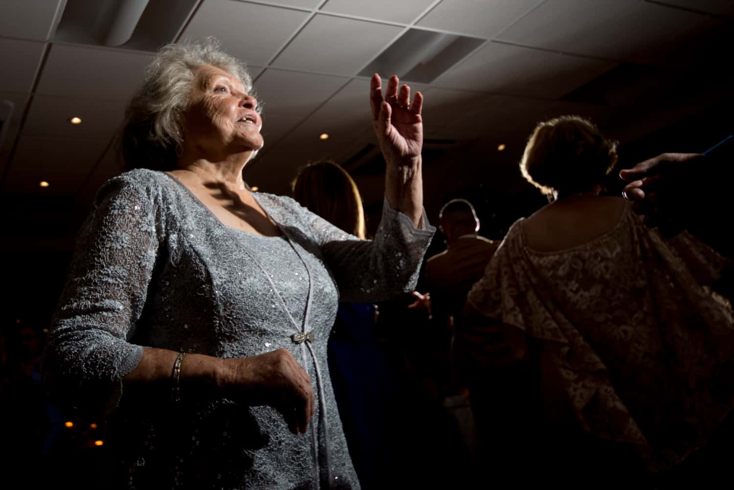 Grandmother of bride dancing during wedding reception