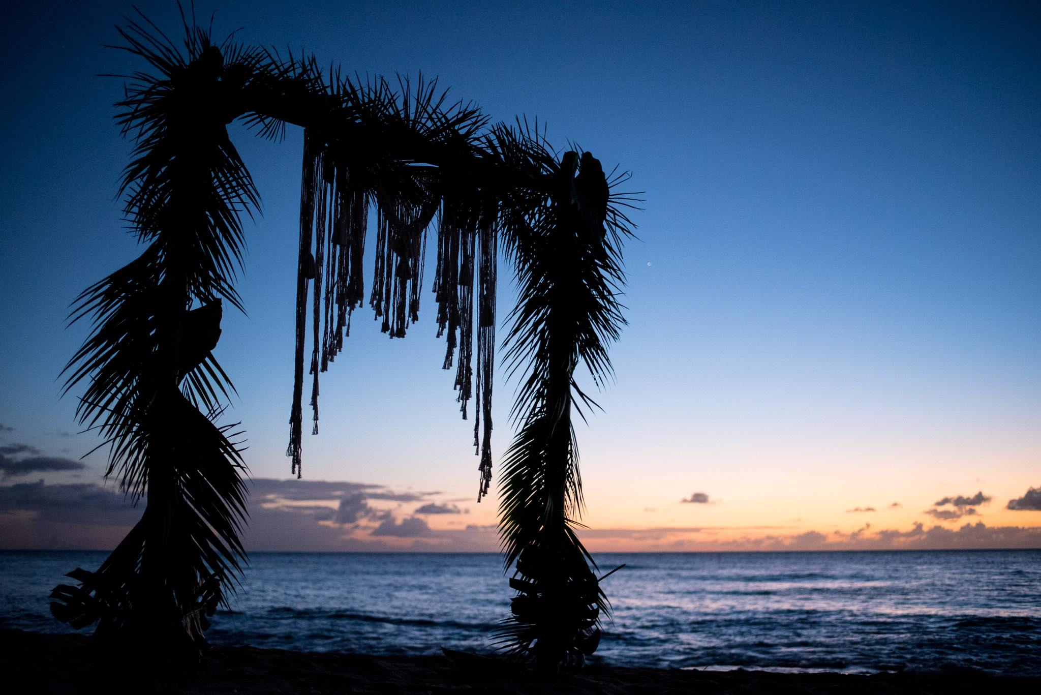 Beach Wedding altar with palm fronds at sunset