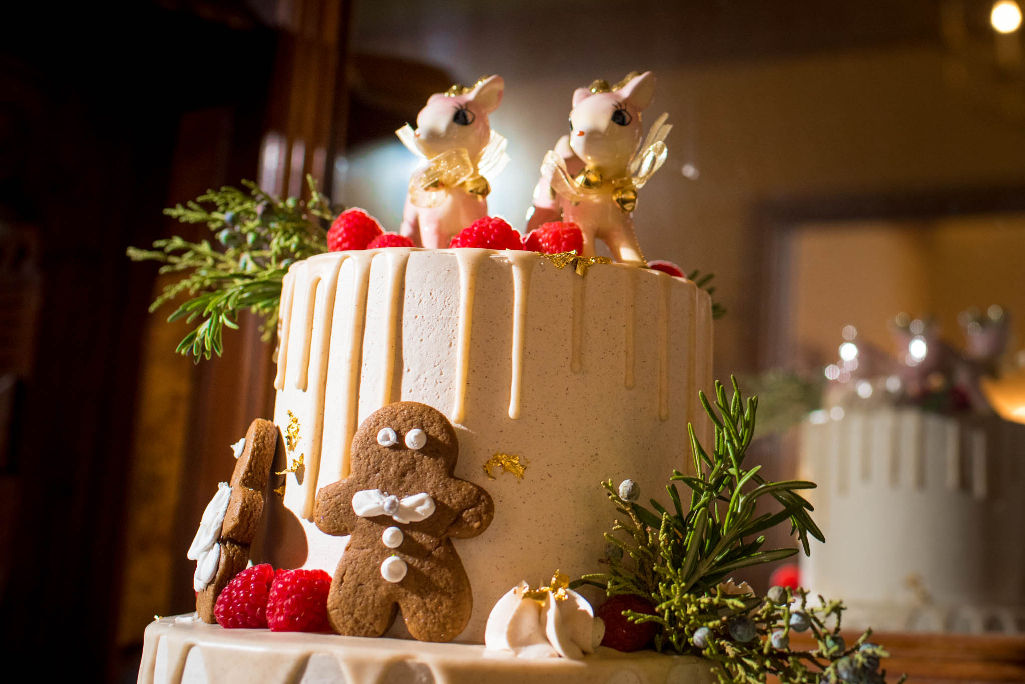 Christmas themed wedding cake with reindeer decorations