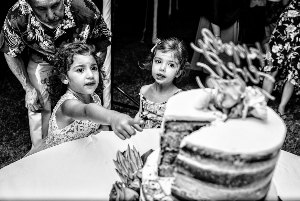 Children at wedding looking at the wedding cake