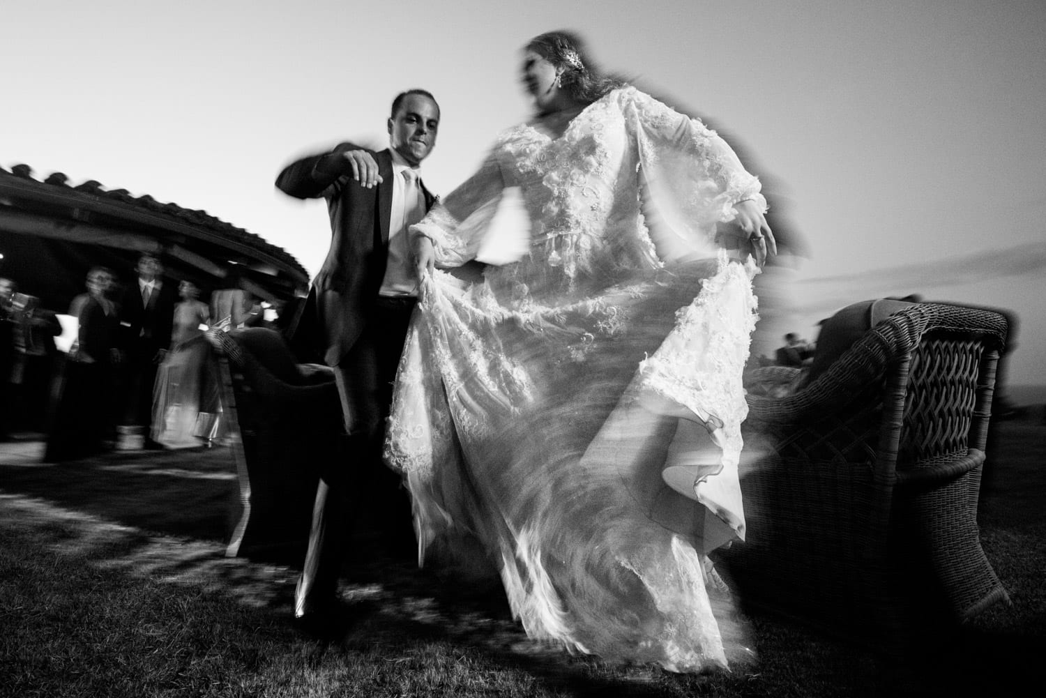 Couple dancing with motion blur