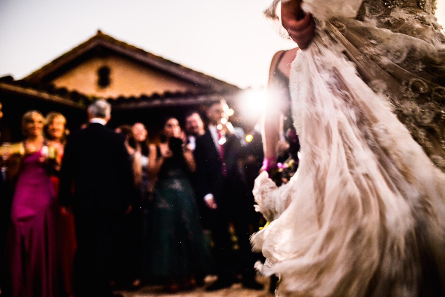 Wedding dress motion blur with LED lighting