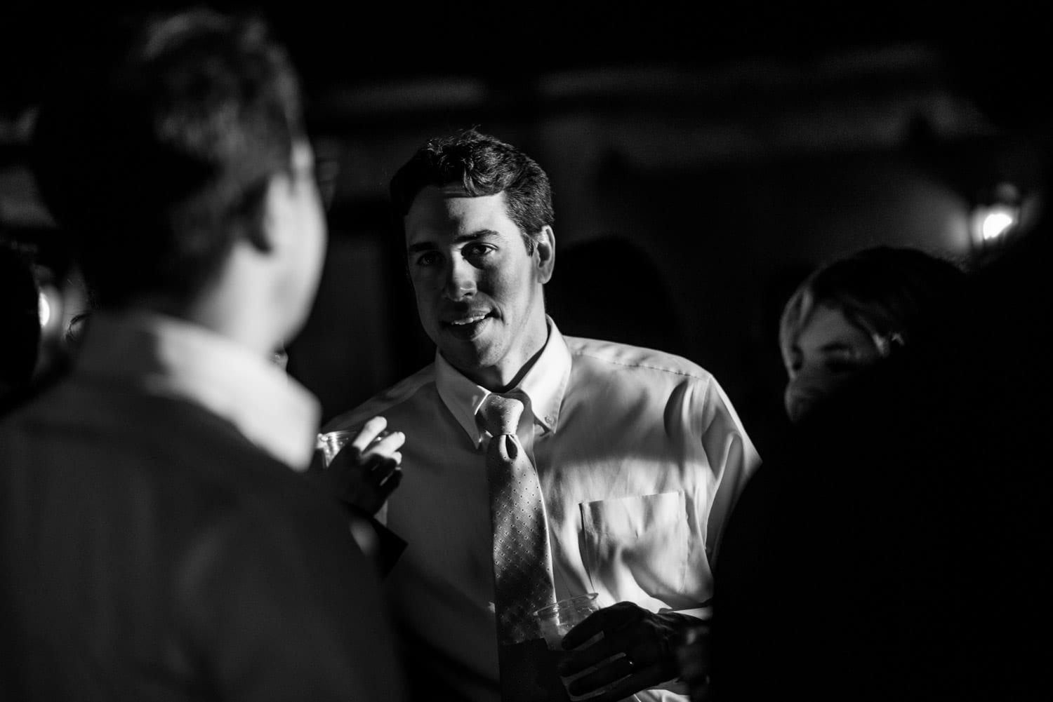Black and white wedding guest photography